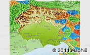Physical 3D Map of Friuli-Venezia Giulia, political shades outside