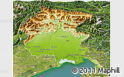 Physical 3D Map of Friuli-Venezia Giulia, satellite outside