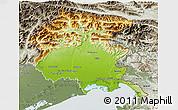Physical 3D Map of Friuli-Venezia Giulia, semi-desaturated