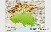 Physical 3D Map of Friuli-Venezia Giulia, shaded relief outside