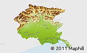 Physical 3D Map of Friuli-Venezia Giulia, single color outside