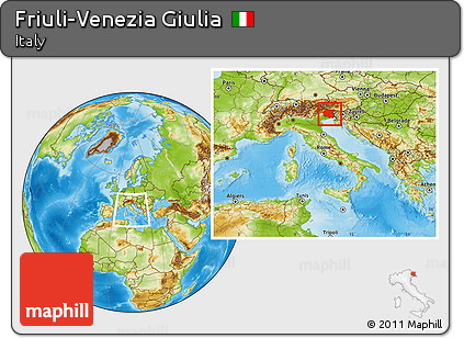 Physical Location Map of Friuli-Venezia Giulia, within the entire country