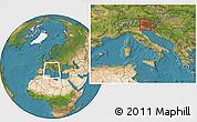 Satellite Location Map of Friuli-Venezia Giulia, within the entire country