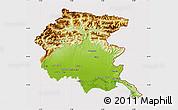 Physical Map of Friuli-Venezia Giulia, cropped outside