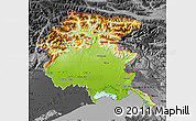 Physical Map of Friuli-Venezia Giulia, darken, desaturated