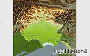 Physical Map of Friuli-Venezia Giulia, darken