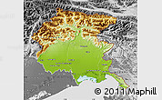 Physical Map of Friuli-Venezia Giulia, desaturated