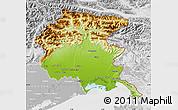 Physical Map of Friuli-Venezia Giulia, lighten, desaturated