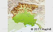 Physical Map of Friuli-Venezia Giulia, lighten