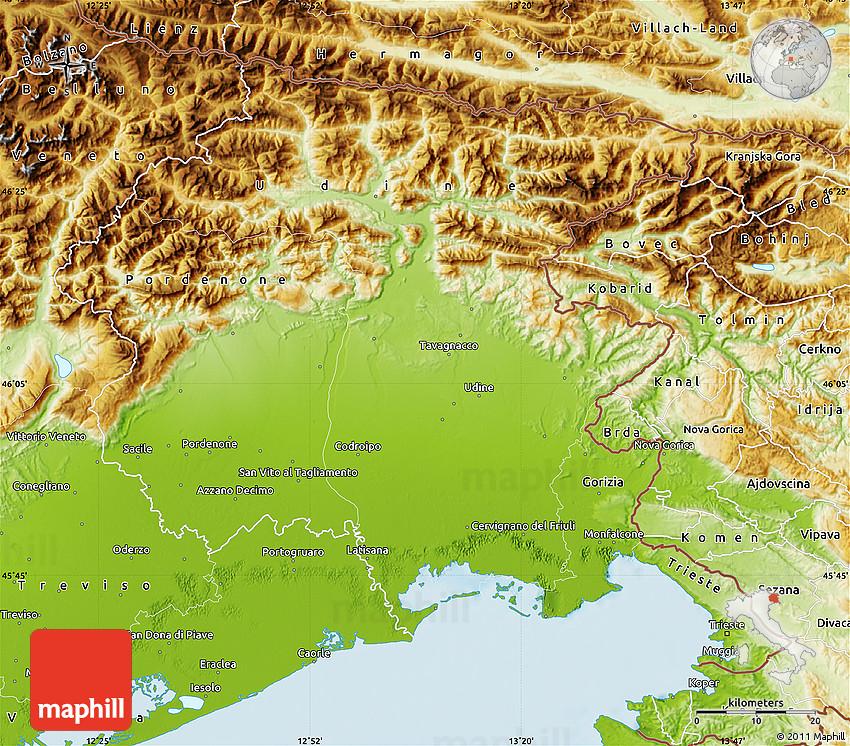 Physical Map of FriuliVenezia Giulia