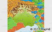 Physical Map of Friuli-Venezia Giulia, political outside