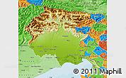 Physical Map of Friuli-Venezia Giulia, political shades outside