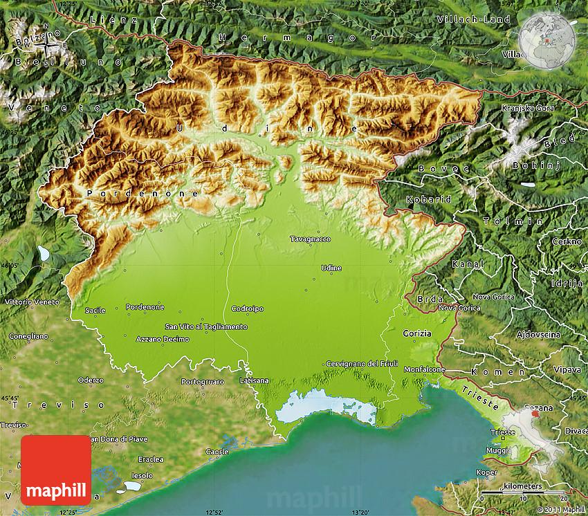 Physical Map of FriuliVenezia Giulia satellite outside