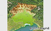 Physical Map of Friuli-Venezia Giulia, satellite outside