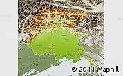 Physical Map of Friuli-Venezia Giulia, semi-desaturated