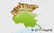Physical Map of Friuli-Venezia Giulia, single color outside