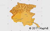 Political Shades Map of Friuli-Venezia Giulia, cropped outside