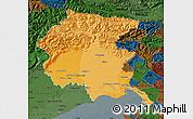 Political Shades Map of Friuli-Venezia Giulia, darken