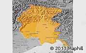 Political Shades Map of Friuli-Venezia Giulia, desaturated