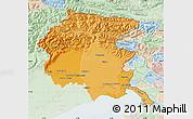 Political Shades Map of Friuli-Venezia Giulia, lighten