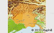 Political Shades Map of Friuli-Venezia Giulia, physical outside