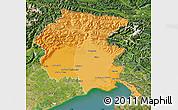 Political Shades Map of Friuli-Venezia Giulia, satellite outside