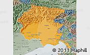 Political Shades Map of Friuli-Venezia Giulia, semi-desaturated