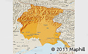 Political Shades Map of Friuli-Venezia Giulia, shaded relief outside