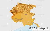 Political Shades Map of Friuli-Venezia Giulia, single color outside
