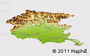 Physical Panoramic Map of Friuli-Venezia Giulia, cropped outside
