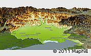 Physical Panoramic Map of Friuli-Venezia Giulia, darken