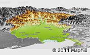Physical Panoramic Map of Friuli-Venezia Giulia, desaturated