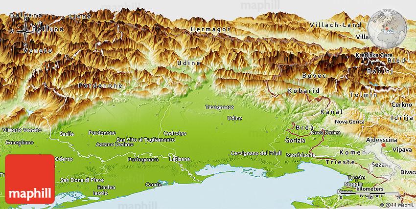 Physical Panoramic Map of FriuliVenezia Giulia