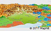 Physical Panoramic Map of Friuli-Venezia Giulia, political outside