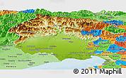Physical Panoramic Map of Friuli-Venezia Giulia, political shades outside
