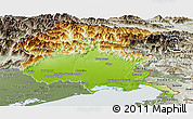 Physical Panoramic Map of Friuli-Venezia Giulia, semi-desaturated