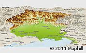 Physical Panoramic Map of Friuli-Venezia Giulia, shaded relief outside