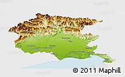 Physical Panoramic Map of Friuli-Venezia Giulia, single color outside