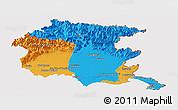 Political Panoramic Map of Friuli-Venezia Giulia, cropped outside