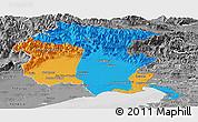 Political Panoramic Map of Friuli-Venezia Giulia, desaturated