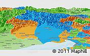 Political Panoramic Map of Friuli-Venezia Giulia, political shades outside
