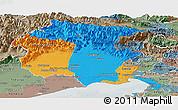 Political Panoramic Map of Friuli-Venezia Giulia, semi-desaturated