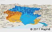 Political Panoramic Map of Friuli-Venezia Giulia, shaded relief outside