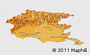 Political Shades Panoramic Map of Friuli-Venezia Giulia, cropped outside