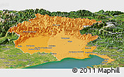 Political Shades Panoramic Map of Friuli-Venezia Giulia, satellite outside