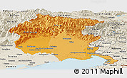 Political Shades Panoramic Map of Friuli-Venezia Giulia, shaded relief outside
