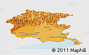 Political Shades Panoramic Map of Friuli-Venezia Giulia, single color outside