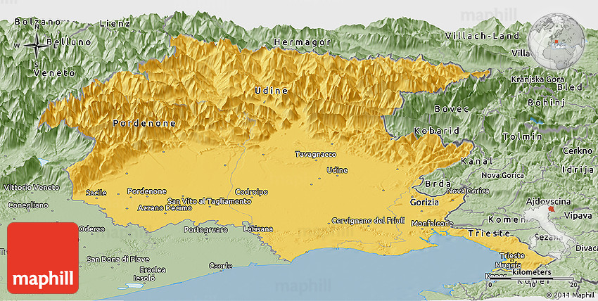 Savanna Style Panoramic Map of FriuliVenezia Giulia