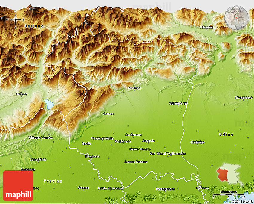 Physical 3d Map Of Pordenone