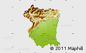 Physical Map of Pordenone, single color outside